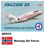 1-72-Dassault-Mystere-Falcon-20-Decals-Norway-Air-Force