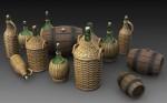 1-35-Wicker-Bottles-Demijohn-Glass-and-small-barrels