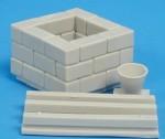 RARE-1-35-Square-Stone-Block-Well-w-Bucket-SALE-