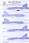 1-48-Decal-SAAB-J-39-C-D-Gripen-3x-HU-CZ-SE