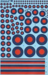 1-72-RAF-Post-War-Red-Blue-Tactical-Roundels-10-Roundel-sizes-4-Tail-fin-stripe-sizes-