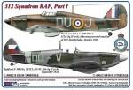 1-48-312-th-Squadron-RAF-Part-I-Hurricane-Mk-I-L1926-DuoJ-+-Spitfire-LF-Mk-IXe-TE515-DU-W