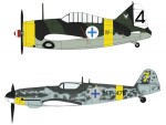 1-72-B-239-Buffalo-and-Messerschmitt-Bf109G-6-Finnish-Air-Force