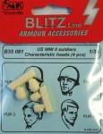 1-35-U-S-WWII-Soldiers-heads-4-pcs-