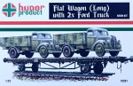 1-72-Flat-Wagon-Long-w-2x-Ford-Trucks-resin-kit