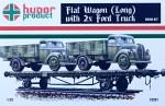 1-72-Flat-Wagon-Long-w-2x-Ford-Trucks-resin-kit