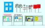 1-87-Informations-Schaukasten-Rettungsringe-Fender-Schilder-Badebetrieb-Bausatz
