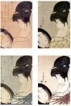 Girl-Powdering-her-neck-after-Utamaro-1753-1805-250mm-semi-flat-White-Metal-bust-size-8-5x9-5cms