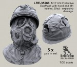 1-35-M17-US-Protective-GasMask-with-hood-and-M1-helmet-bullet-shoot-damage