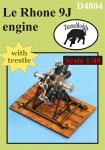 1-48-Le-Rhone-9J-engine-w-trestle-resin-and-PE-set