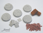 28mm-1x5-Bases-railn-tracks-diameter-32mm