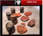 1-35-Crushed-and-Dented-US-Fuel-Drums-WWII-11-resin-pcs-